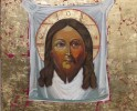 Mandylion icon, mixed media, gold leaf on wood panel